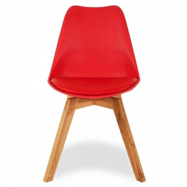 Red Dining Chairs, Solid Oak Crossed Legs Inspired By Eames