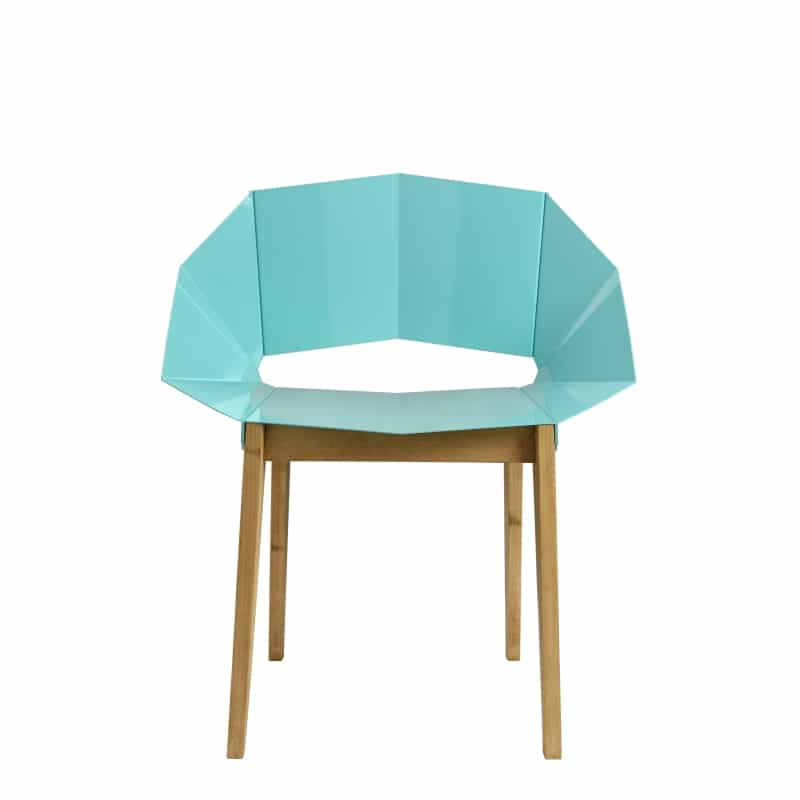 Symmetrical Bent Steel Soft Turquoise Chair Solid Wood