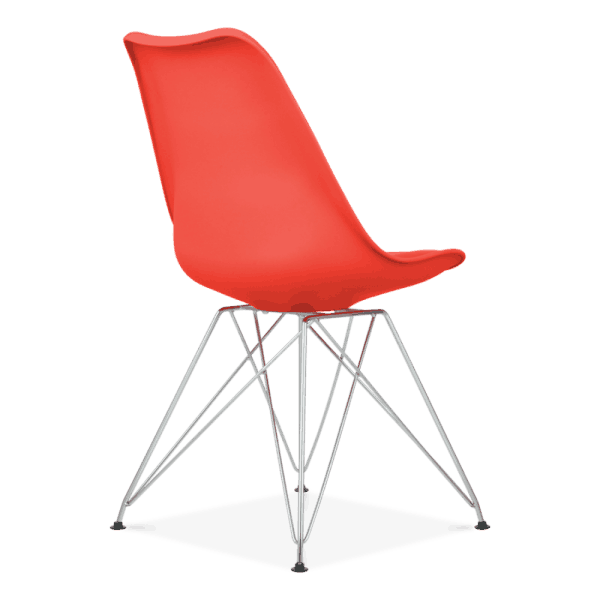Red Eiffel Dining Chair Eames Inspired Red With Metal Legs
