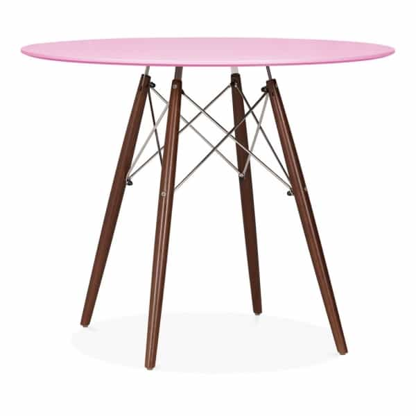 Round Dining Table Pink Walnut 900mm Eames Inspired