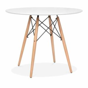 DSW Round Dining Table - White Top Natural Leg Finish
