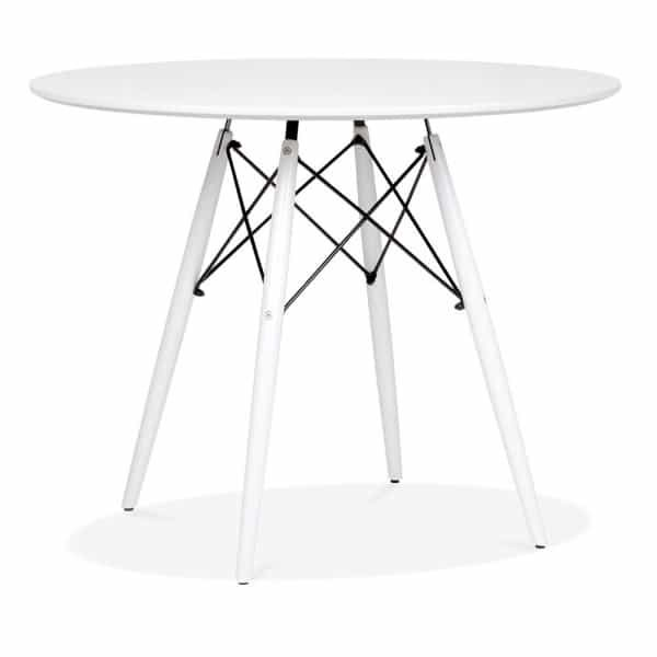 DSW Round Dining Table - White Top White Leg Finish