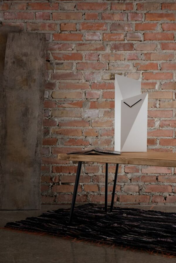 GIE White Tall Table Top Clock