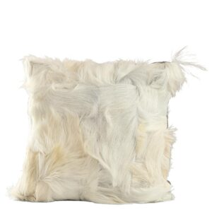 White Natural Goat Fur Cushion Pillow