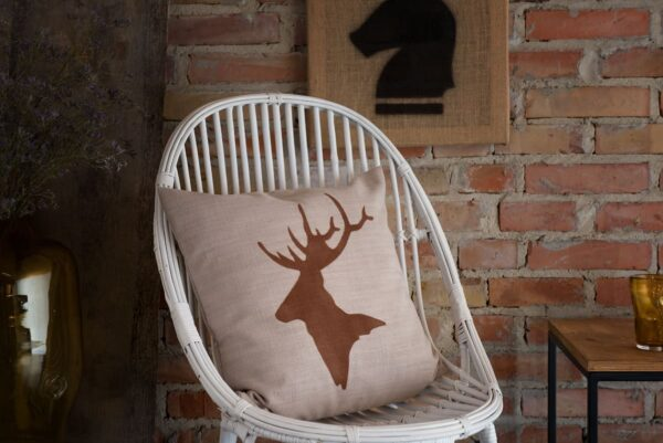 GIE Beige Brown Deer Print Cushion 50x50