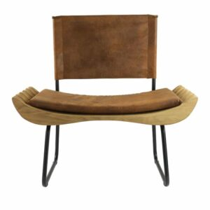 Organique Armchair Gie El Brown, Natural Wood on Black Frame
