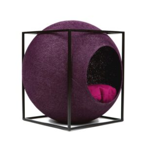 Meyou Paris - Plum Cube, designer furniture for your pet - Hand-Woven Cocoon