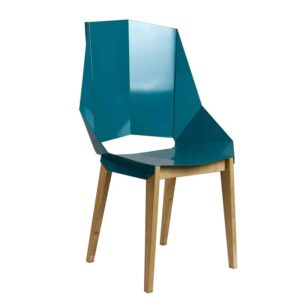 Symmetrical Bent Steel Teal High-Back Chair