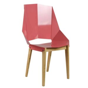 Symmetrical Bent Steel Dusty Pink High-Back Chair