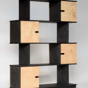 PIX Shelving Unit 4 Levels - Black Grey Frame / Oak Doors
