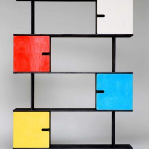 PIX Shelf - Shelving Unit 4 Levels - Black Grey Frame / Colourful Doors