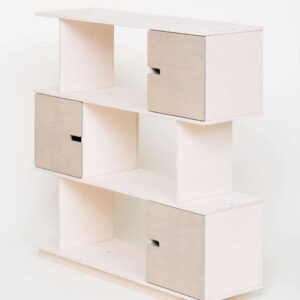 Shelving Unit 3 Levels - White Frame / Pebble Grey Doors