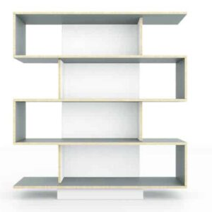 SAM Shelving Unit 120cm Wide- Pebble Grey / White Film Doors