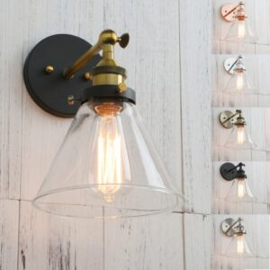 Antique Funnel Glass Shade Retro Wall Sconce