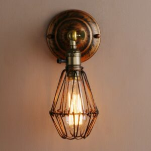 Art Deco Vintage Industrial Bird Cage Wall Light