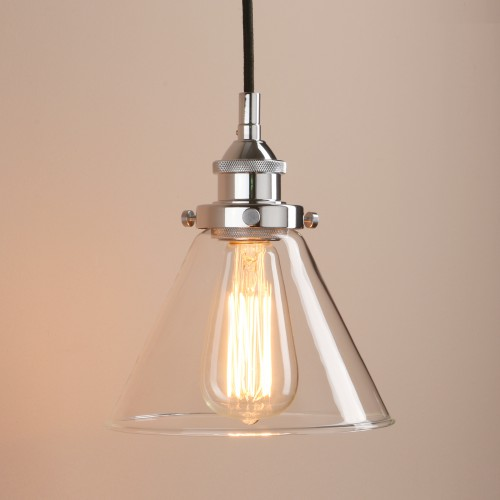 Antique Industrial Funnel Glass Shade Pendant Light